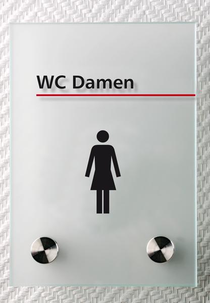 Motiv: (M0140) WC Damen schwarz-rot
