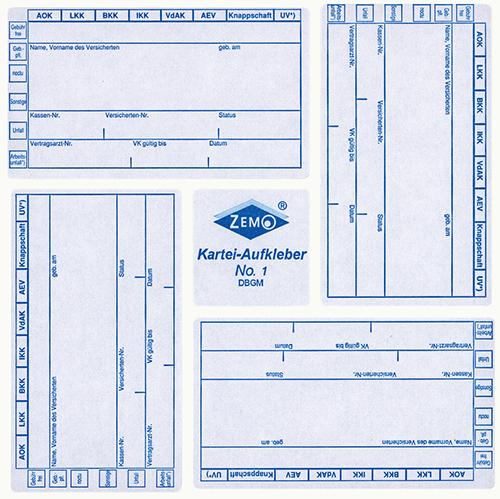 ZEMO Karteiaufkleber Nr. 1, weiß-blau (500 Stk)