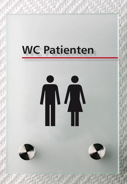 Motiv: (M0160) WC Patienten schwarz-rot